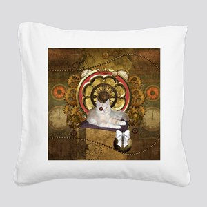 Steampunk, cute cat with clocks and gears Square C