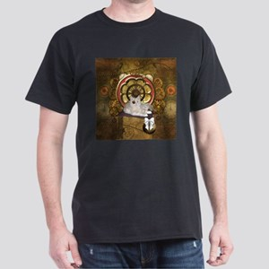 Steampunk, cute cat with clocks and gears T-Shirt
