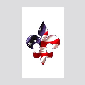 Fleur de lis Stars & Stripes Rectangle Sticker
