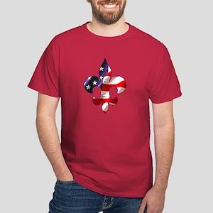 Fleur de lis Stars & Stripes Dark T-Shirt