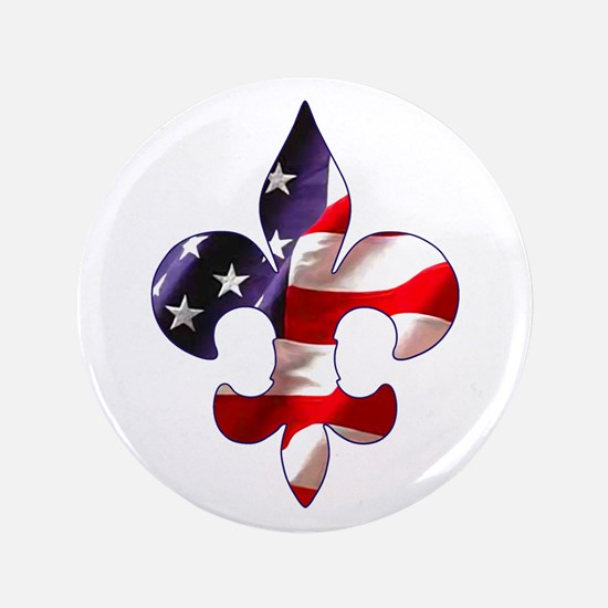 "Fleur de lis Stars & Stripes 3.5"" Button"