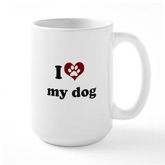 i heart my dog Large Mug