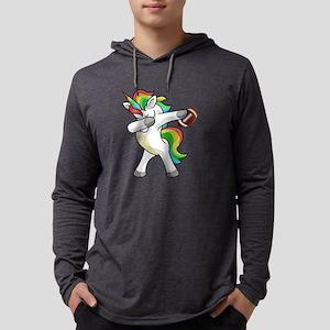 Dabbing Unicorn Football Funny Long Sleeve T-Shirt