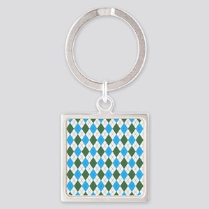 Blue & Green: Argyle Pattern Square Keychain