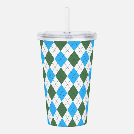 Blue & Green: Argyle P Acrylic Double-wall Tumbler
