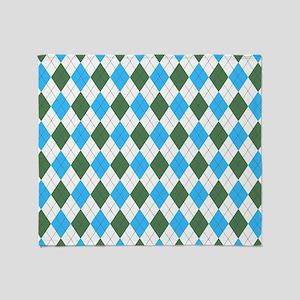 Blue & Green: Argyle Pattern Throw Blanket