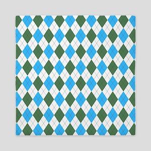 Blue & Green: Argyle Pattern Queen Duvet