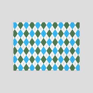 Blue & Green: Argyle Pattern 5'x7'Area Rug
