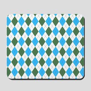 Blue & Green: Argyle Pattern Mousepad