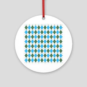 Blue & Green: Argyle Pattern Round Ornament