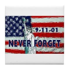 9-11-01 Never Forget Tile Coaster