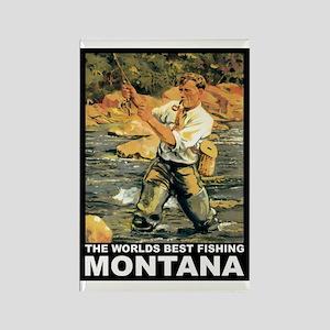 Montana Fishing Rectangle Magnet