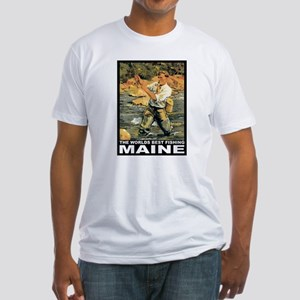 Maine Fishing Fitted T-Shirt