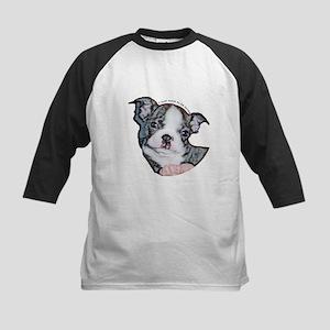 Boston Terrier Puppy Kids Baseball Jersey
