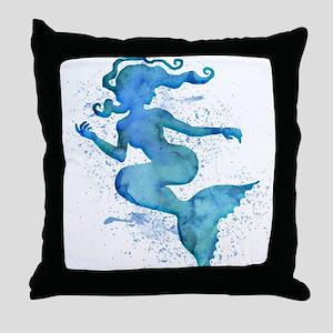 Blue Watercolor Mermaid Throw Pillow