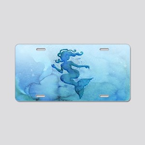 Blue Watercolor Mermaid Aluminum License Plate