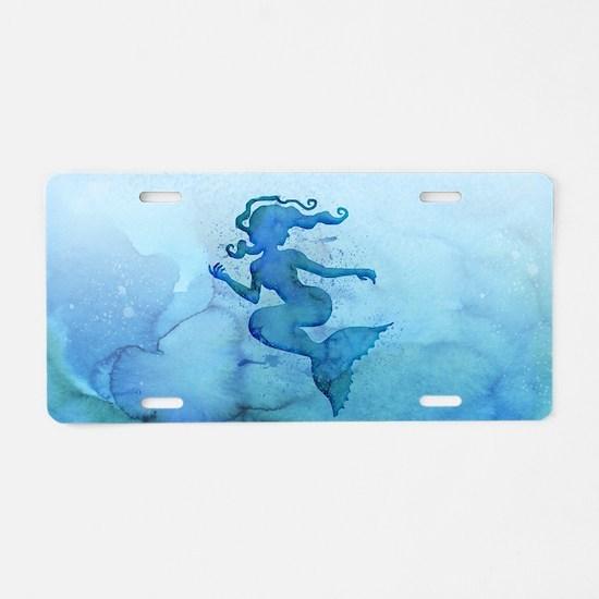 Blue Watercolor Mermaid Aluminum License Plate
