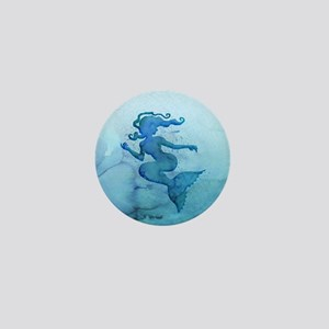 Blue Watercolor Mermaid Mini Button