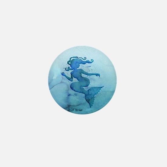 Blue Watercolor Mermaid Mini Button