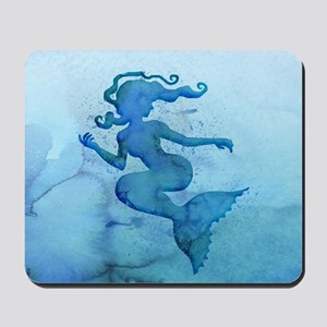 Blue Watercolor Mermaid Mousepad