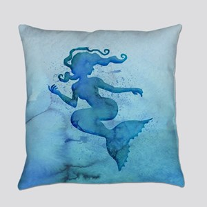 Blue Watercolor Mermaid Everyday Pillow