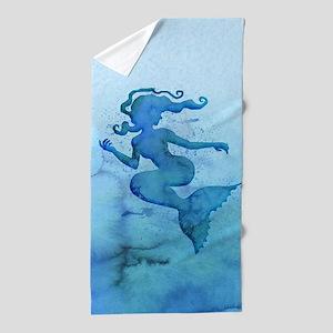 Blue Watercolor Mermaid Beach Towel