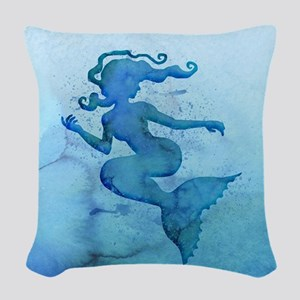 Blue Watercolor Mermaid Woven Throw Pillow
