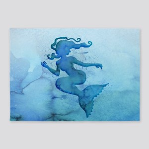 Blue Watercolor Mermaid 5'x7'Area Rug