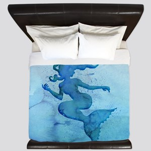 Blue Watercolor Mermaid King Duvet