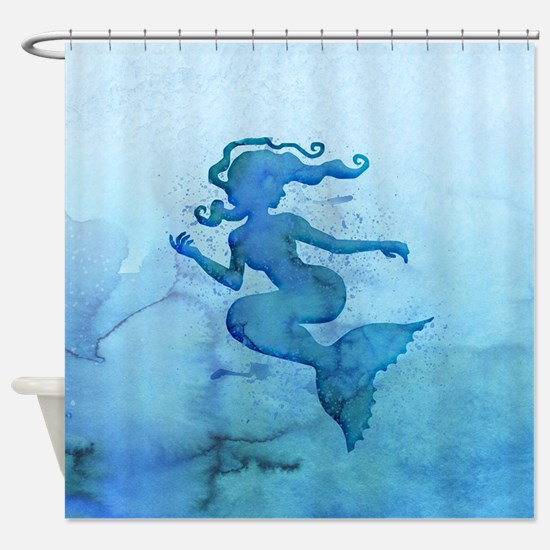 Blue Watercolor Mermaid Shower Curtain
