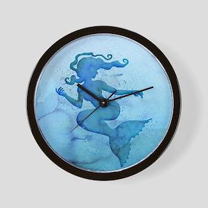 Blue Watercolor Mermaid Wall Clock