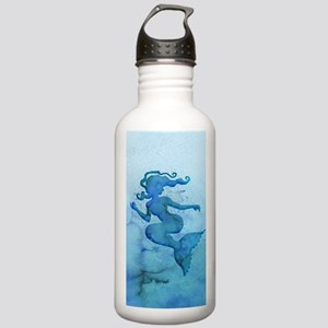 Blue Watercolor Mermaid Water Bottle