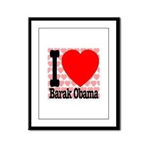 I Love Barak Obama Framed Panel Print