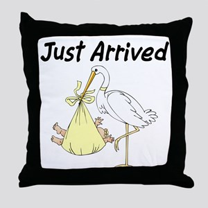 Stork with Baby(yellow) Throw Pillow