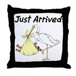 Stork and African American Baby Throw Pillow