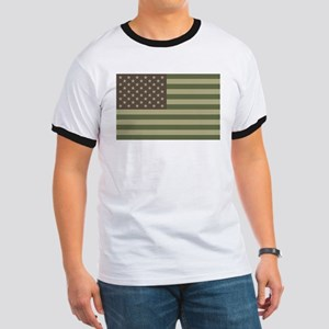 Camo American Flag Ringer T