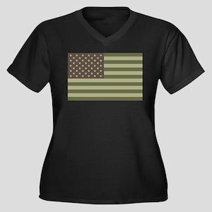 Camo American Flag Women's Plus Size V-Neck Dark T