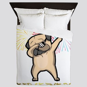 Dabbing Pug Chinese New Year 2018 Queen Duvet