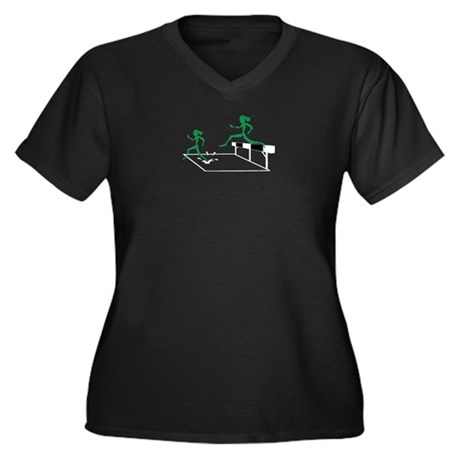 SteepleChics Women's Plus Size V-Neck Dark T-Shirt