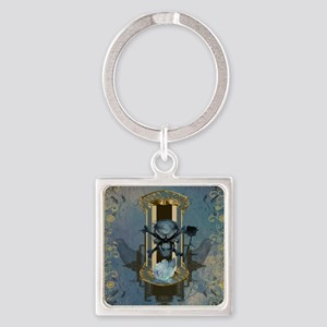 Awesome skull with crow in blue colors Keychains