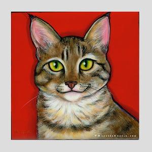 Tabby Cat Tile Coaster