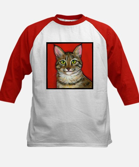 Tabby Cat Kids Baseball Jersey