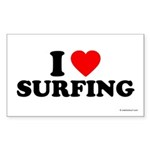 I Love Surfing - Rectangle Sticker 50 pk)