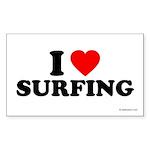 I Love Surfing - Rectangle Sticker 10 pk)