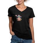 American Pride - Birdhouse Women's V-Neck Dark T-S