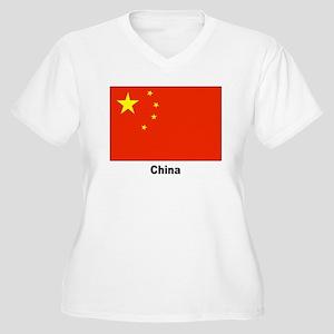 China Chinese Flag Women's Plus Size V-Neck T-Shir