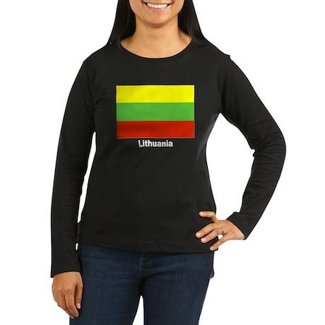 Lithuania Flag Women's Long Sleeve Dark T-Shirt