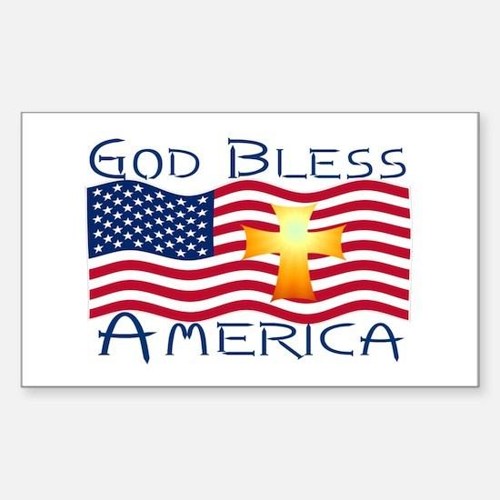 Rectangle Sticker-God Bless America!