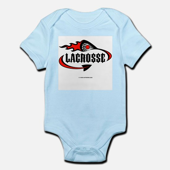 Lacrosse-Flaming Stick Design. Infant Creeper