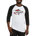 Lacrosse-Flaming Stick Design. Baseball Jersey
